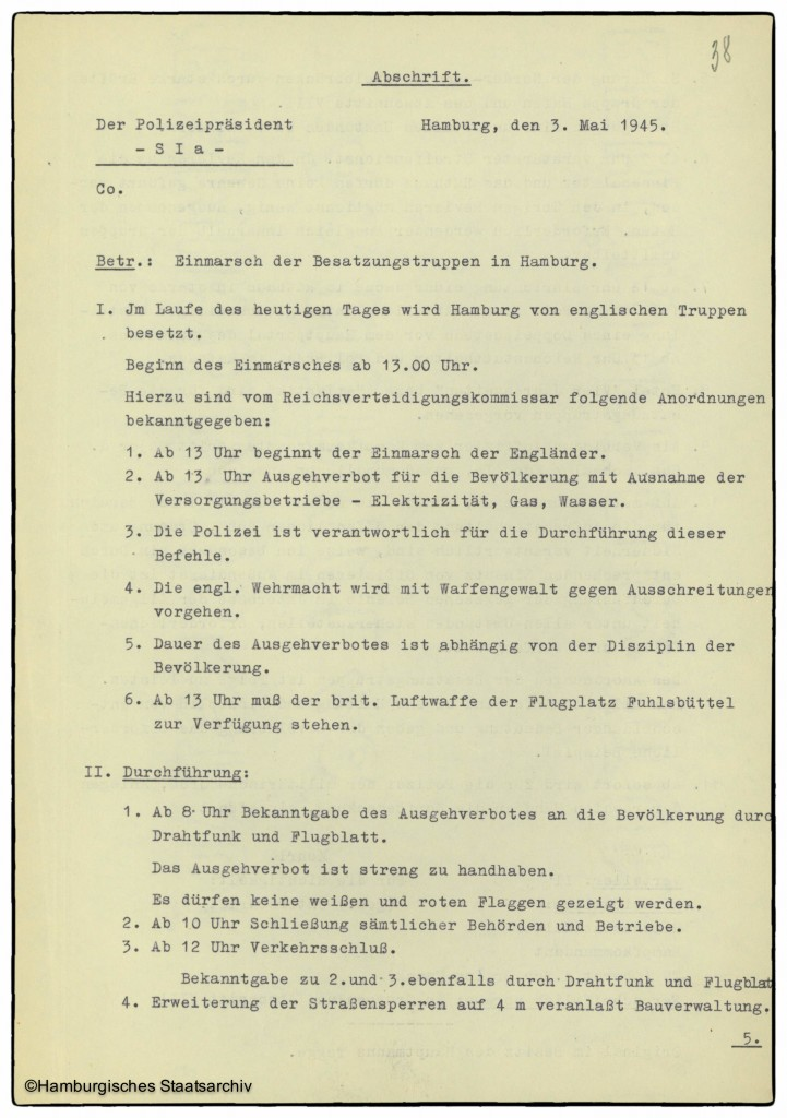 Anweisung von Hamburgs Polizeipräsident vom 3. Mai 1945 - Teil eins