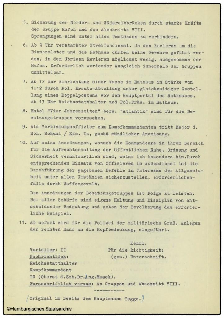 Anweisung von Hamburgs Polizeipräsident vom 3. Mai 1945 - Teil zwei