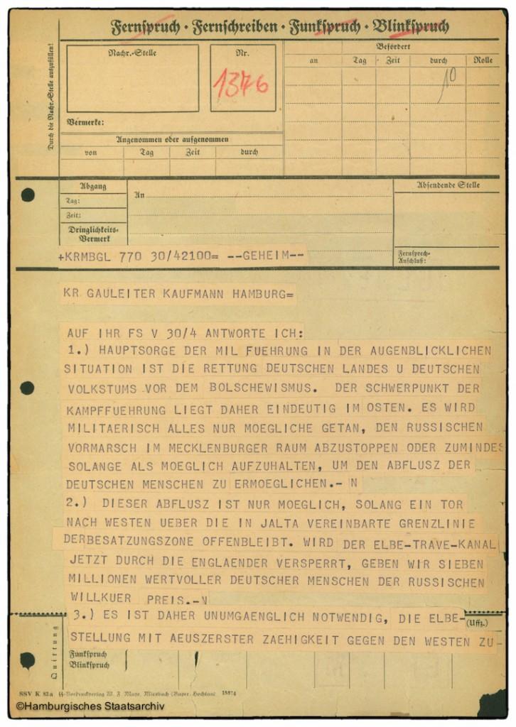 Befehl von Dönitz zur Verteidigung Hamburgs - Seite 1