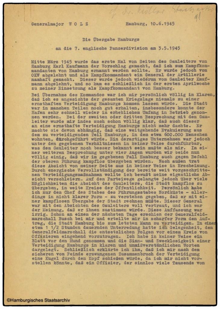 Bericht von Hamburgs Kampfkommandant Alwin Wolz über die Kapitulation - Teil eins