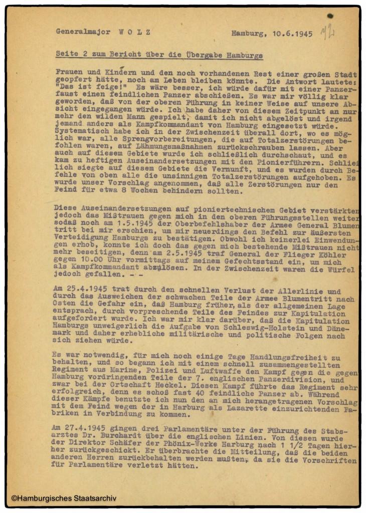 Bericht von Hamburgs Kampfkommandant Alwin Wolz über die Kapitulation - Teil zwei