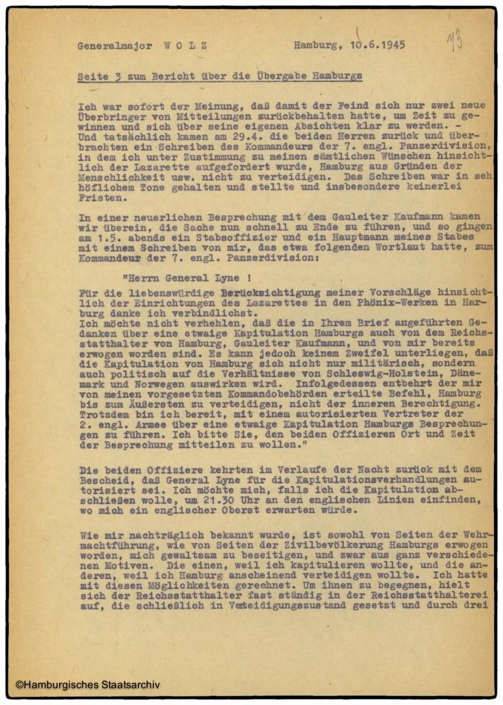 Bericht von Hamburgs Kampfkommandant Alwin Wolz über die Kapitulation - Teil drei