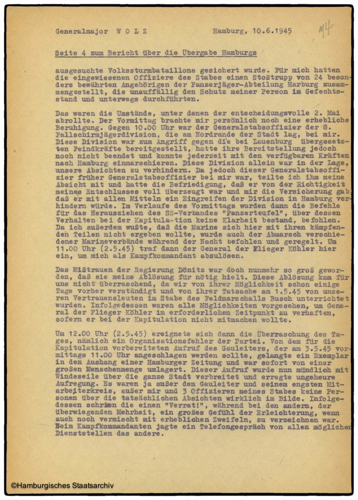 Bericht von Hamburgs Kampfkommandant Alwin Wolz über die Kapitulation - Teil vier