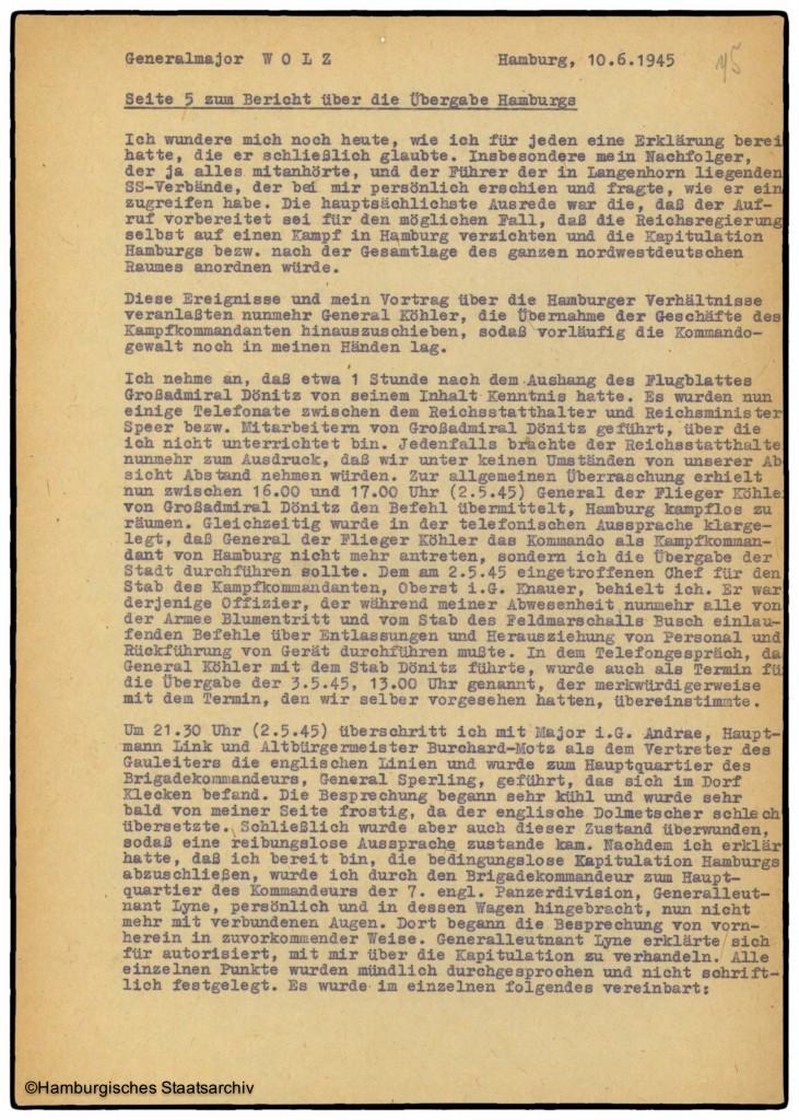 Bericht von Hamburgs Kampfkommandant Alwin Wolz über die Kapitulation - Teil fünf