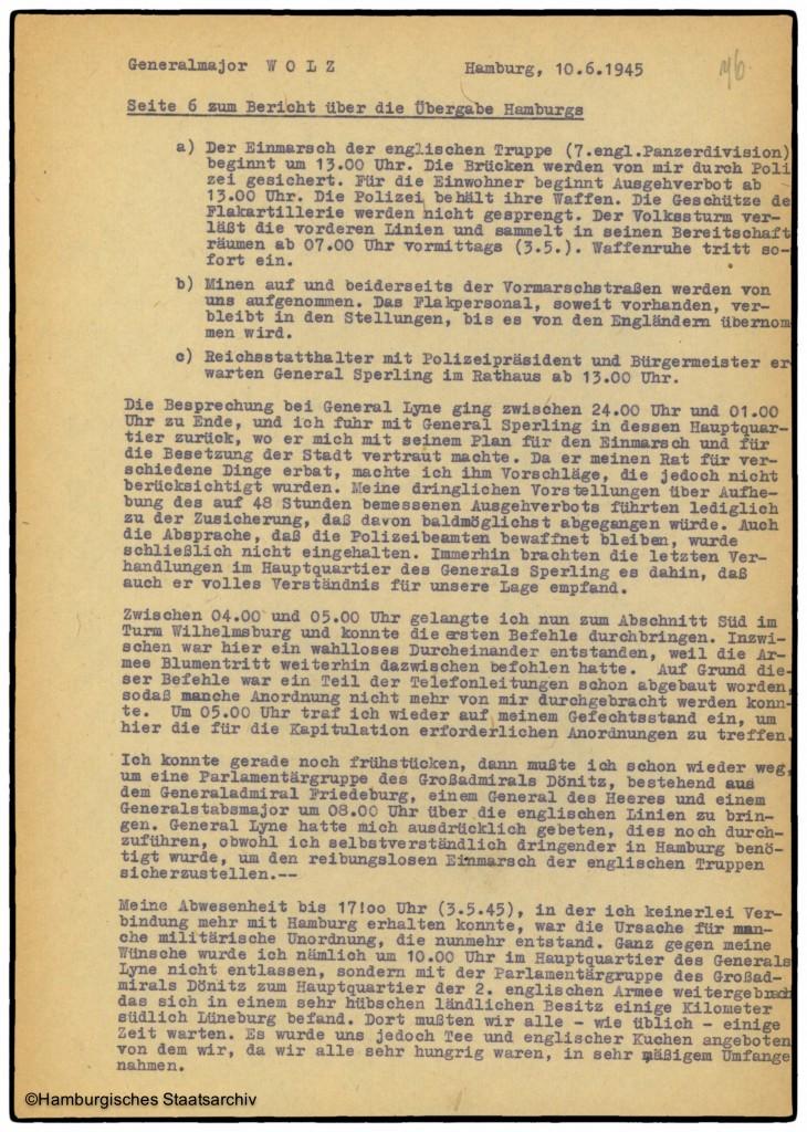 Bericht von Hamburgs Kampfkommandant Alwin Wolz über die Kapitulation - Teil sechs