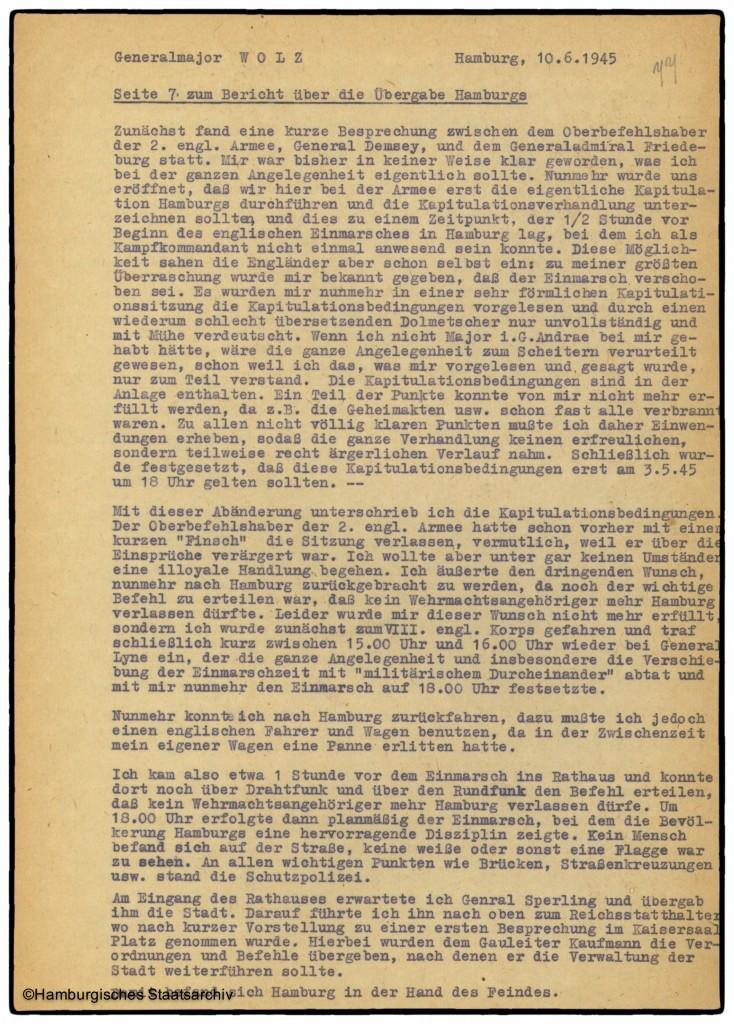 Bericht von Hamburgs Kampfkommandant Alwin Wolz über die Kapitulation - Teil sieben