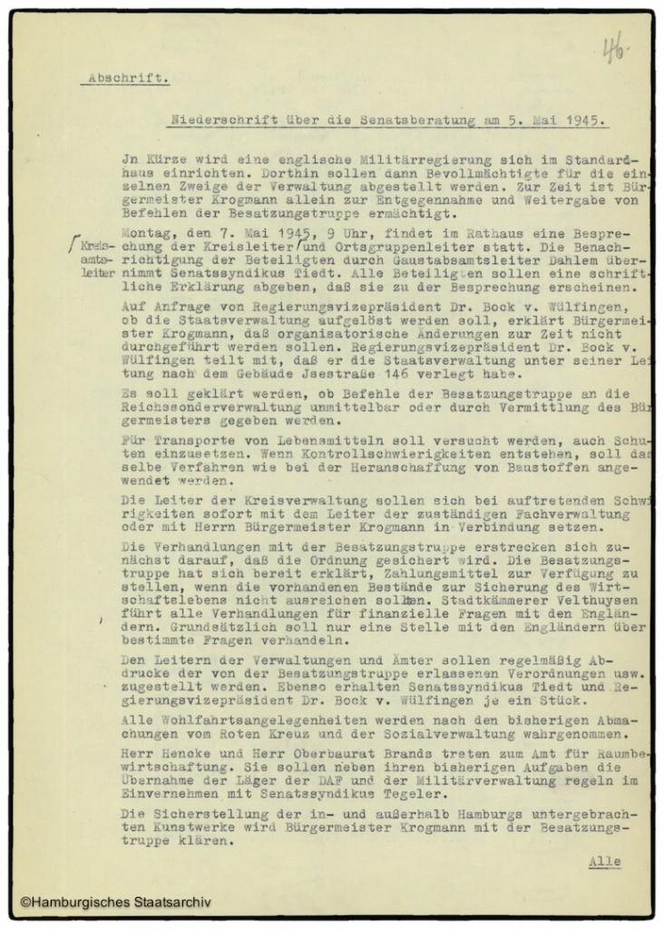 Protokoll der Senatssitzung vom 5. Mai 1945  - Teil eins