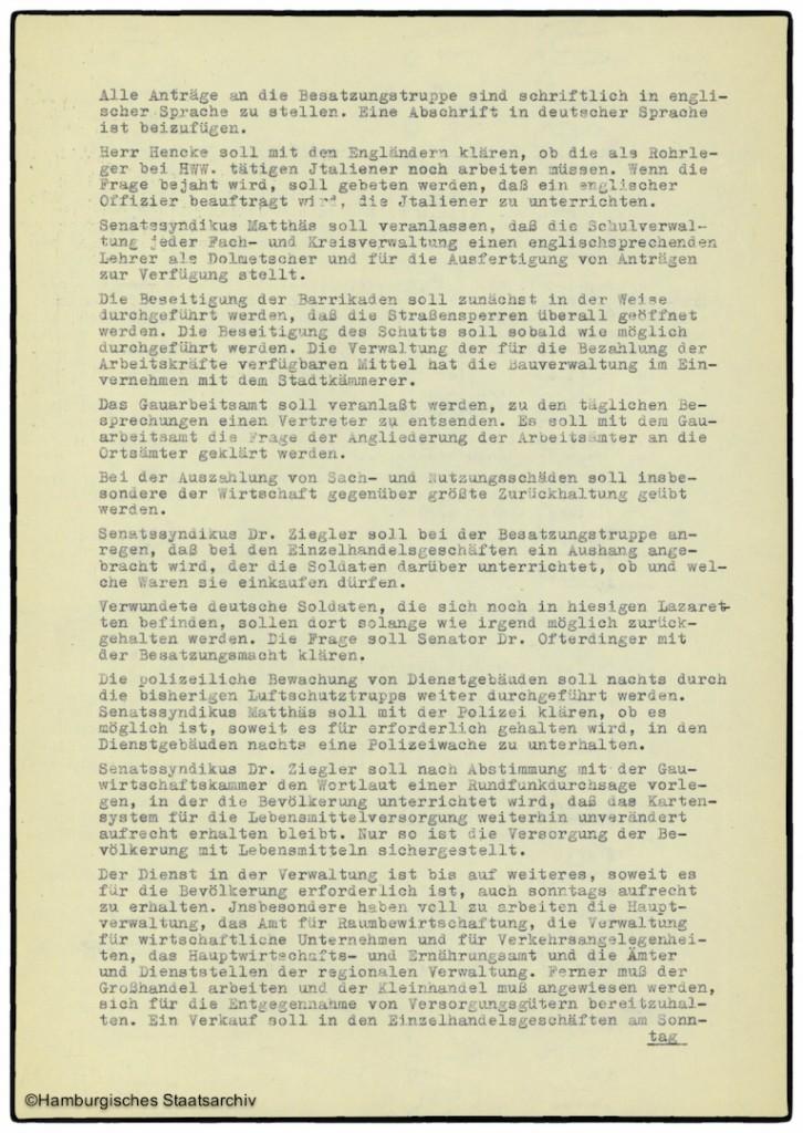 Protokoll der Senatssitzung vom 5. Mai 1945  - Teil zwei