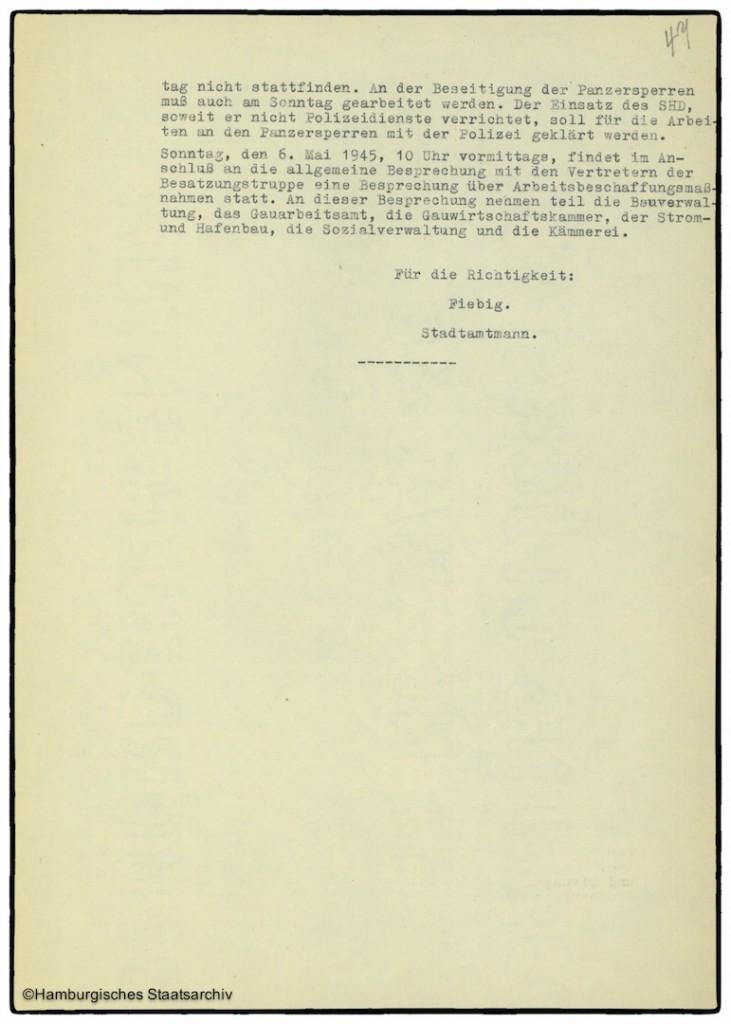 Protokoll der Senatssitzung vom 5. Mai 1945  - Teil drei