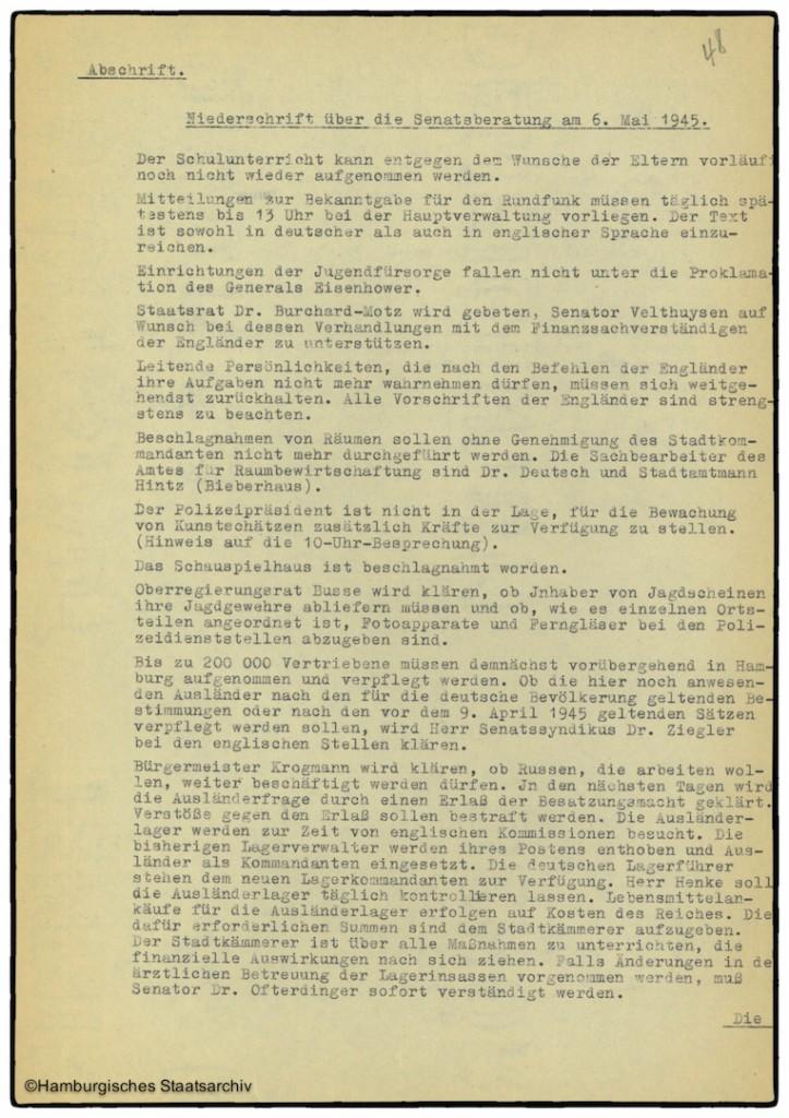 Protokoll der Senatssitzung vom 6. Mai 1945  - Teil eins