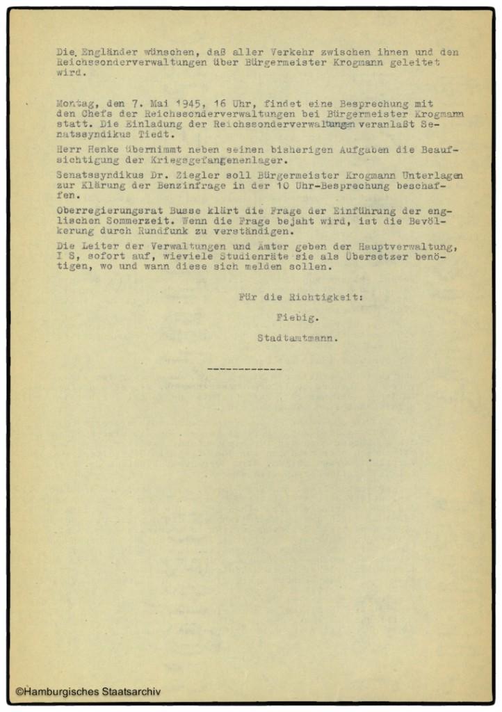 Protokoll der Senatssitzung vom 6. Mai 1945  - Teil zwei