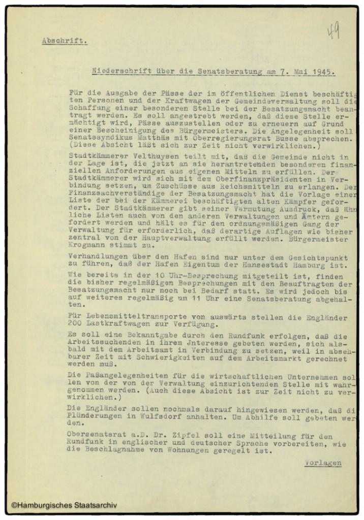 Protokoll der Senatssitzung vom 7. Mai 1945  - Teil eins