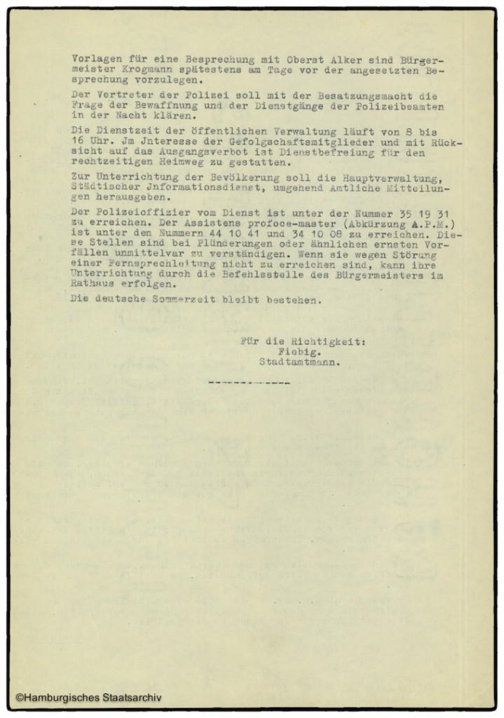Protokoll der Senatssitzung vom 7. Mai 1945  - Teil zwei