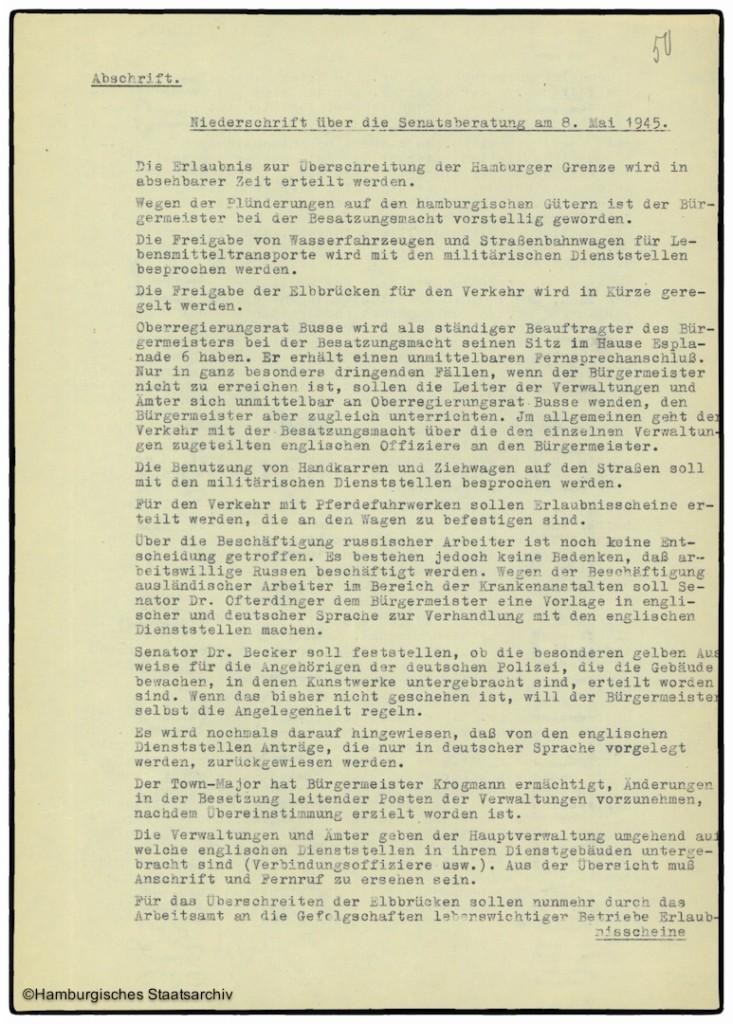 Protokoll der Senatssitzung vom 8. Mai 1945  - Teil eins