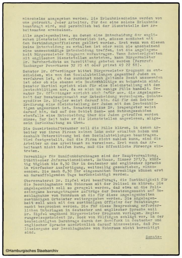 Protokoll der Senatssitzung vom 8. Mai 1945  - Teil zwei