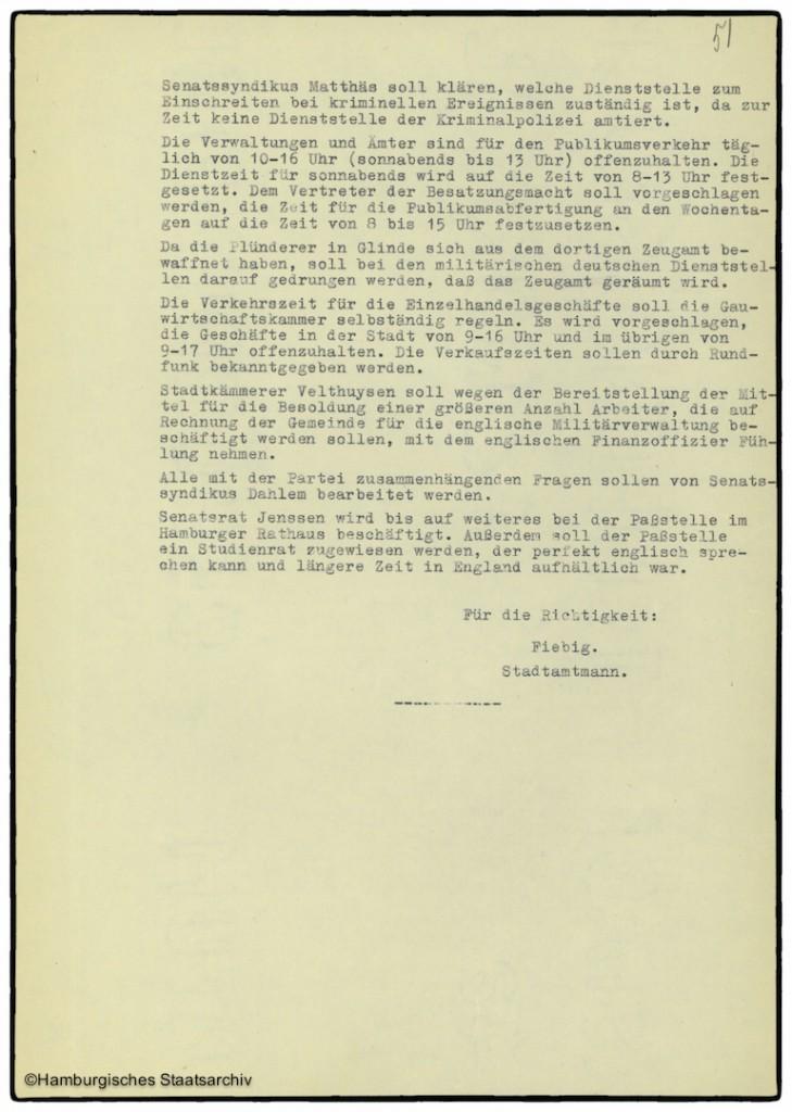 Protokoll der Senatssitzung vom 8. Mai 1945  - Teil drei