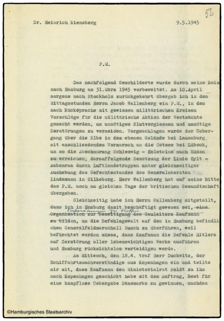 Erinnerungen von Heinrich Riensberg, Schiffahrts-Attache der deutschen Gesandtschaft in Stockholm - Teil eins