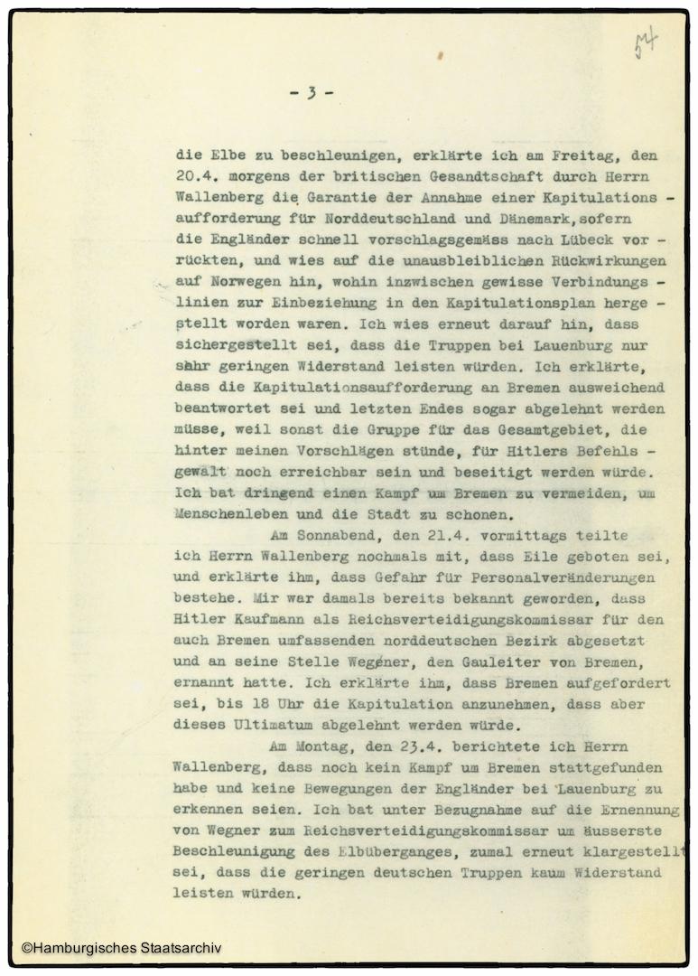 Erinnerungen von Heinrich Riensberg, Schiffahrts-Attache der deutschen Gesandtschaft in Stockholm - Teil drei