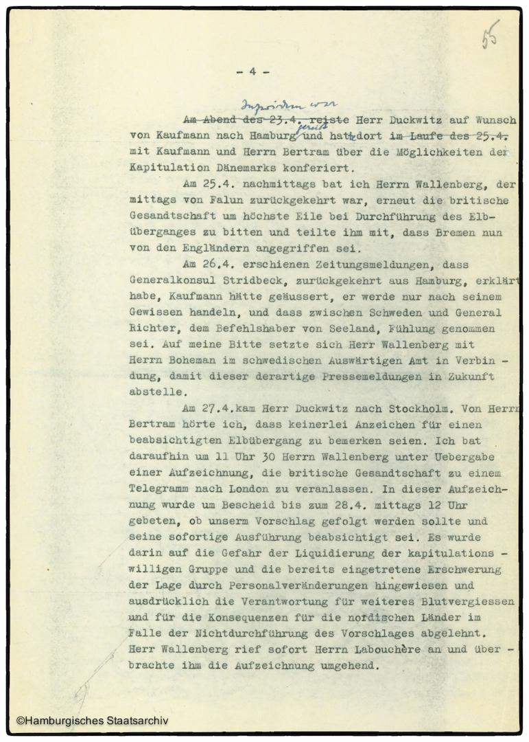 Erinnerungen von Heinrich Riensberg, Schiffahrts-Attache der deutschen Gesandtschaft in Stockholm - Teil vier