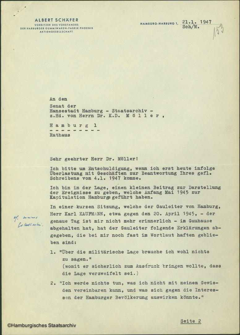 Albert Schäfer über die Kapitulationsverhandlungen - Teil