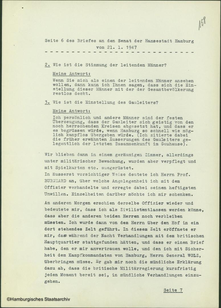 Albert Schäfer über die Kapitulationsverhandlungen - Teil sechs