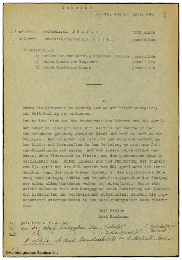 Schreiben von Gauleiter Karl Kaufmann an Großadmiral Dönitz
