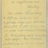 Schreiben von Stabsarzt Burchard an Kampfkommandant Wolz