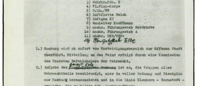 Befehl von Generalfeldmarschall Busch – Hamburg wird zur offenen Stadt erklärt