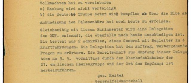 Befehl von Generalfeldmarschall Wilhelm Keitel, Hamburg nicht zu verteidigen