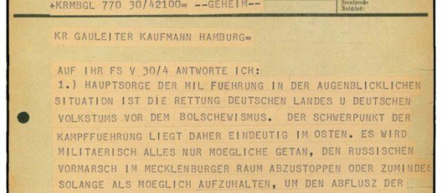 Befehl von Großadmiral Dönitz zur Verteidigung Hamburgs