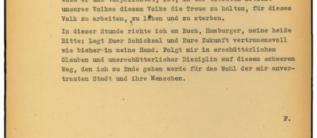 Rundfunkansprache von Gauleiter Karl Kaufmann vom 1. Mai 1945